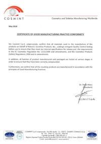 Сертификат соответствия стандартам надлежащей производственной практики GMP изображение