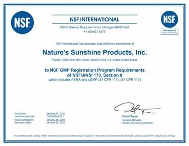 Сертификат NSF (NationalScienceFoundation) изображение